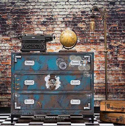 Steampunk Three Drawer Dresser or Oversized Nightstand