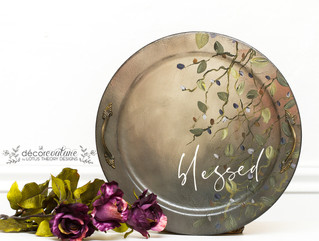 Blessed Tray with Handpainted Leaves and Dixie Belle Paint