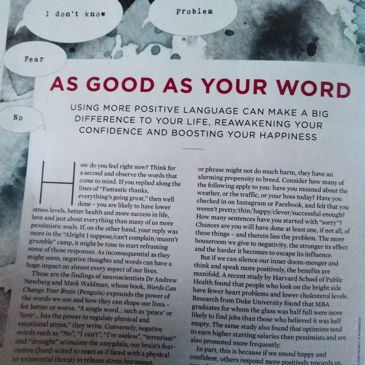 AS GOOD AS YOUR WORD ARTICLE