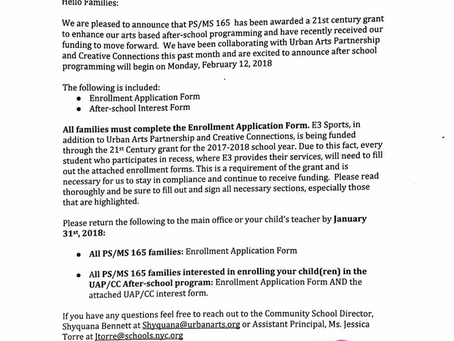 PS 165 After School Enrollment Forms (and E3 Sports Recess Enrichment)