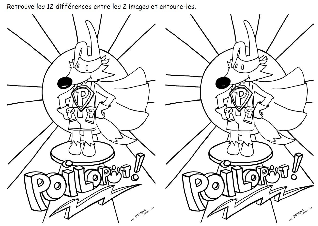 12 différences  Poilopat Super Héros