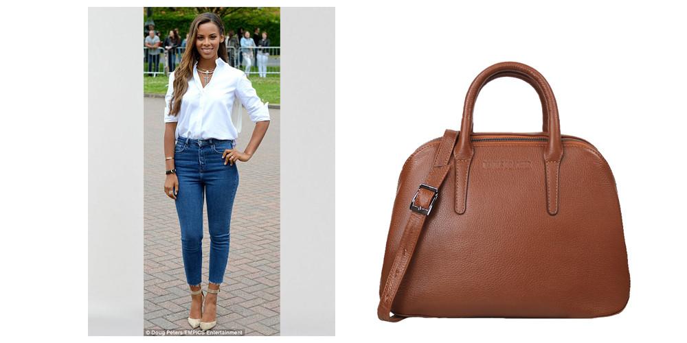 tan shoulder bag, tan crossbody bag, tan leather bag, small tan bag, denim dress, Rochelle Humes, tan handbag, tan leather handbag, spring handbag, tan summer bag