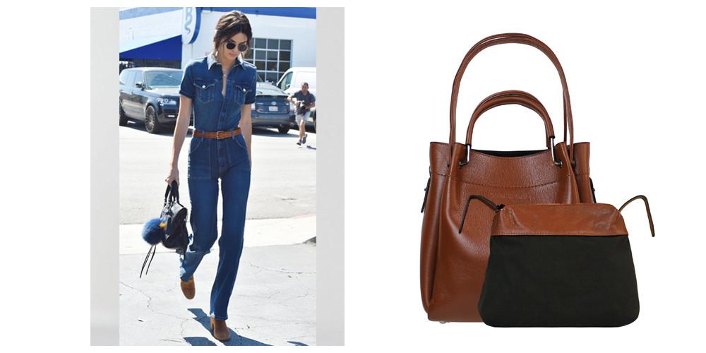 tan shoulder bag, tan crossbody bag, tan leather bag, small tan bag, denim dress, Kendall Jenner, tan handbag, tan leather handbag, spring handbag, tan summer bag