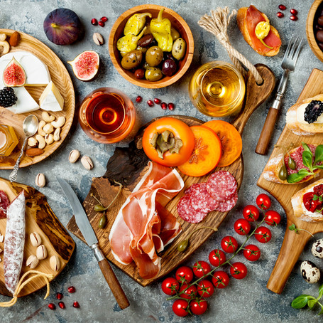 Appetizers table with italian antipasti