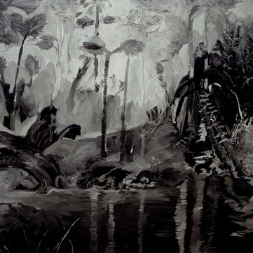 """Black and White Botanical from Black Lung series 40"""" x 40"""" (sold)"""