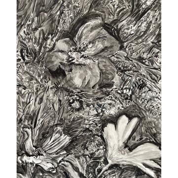 "Watercolor on paper, 24"" x 18"", 2021 (Payne's gray/lamp black)"