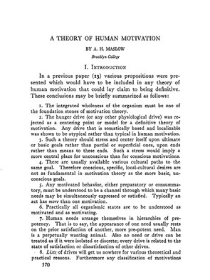 Maslow, A. H. (1943). A theory of human motivation. Psychological Review, 50(4), 370–396. https://doi.org/10.1037/h0054346
