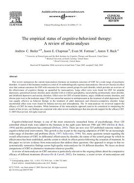 The empirical status of cognitive-behavioral therapy