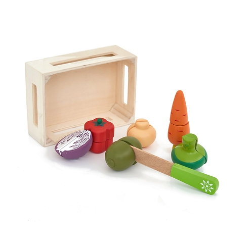 Wooden Play Food Chopping Set - Vegetables