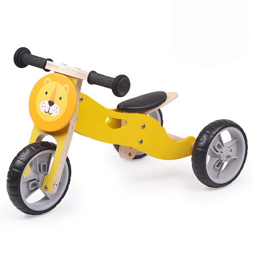2-in-1 Wooden Balance Bike/ Trike - Lion