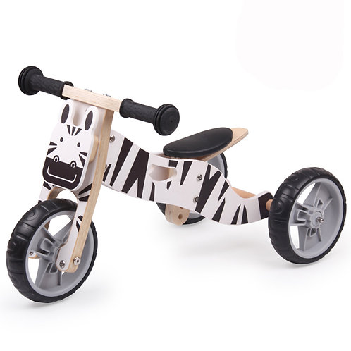 2-in-1 Wooden Balance Bike/ Trike - Zebra