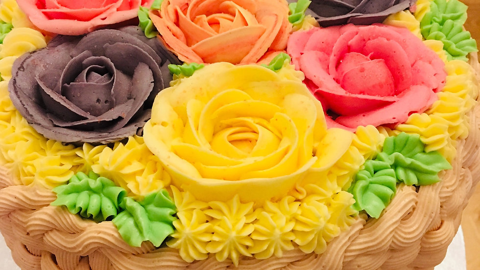 Summer Rose Basket Cake