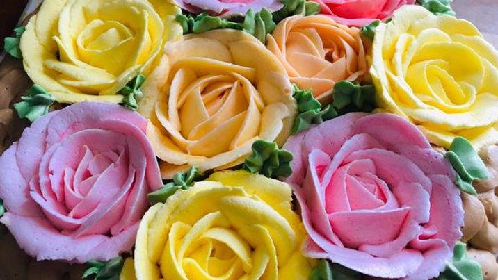 Variety Rose Basket Cake