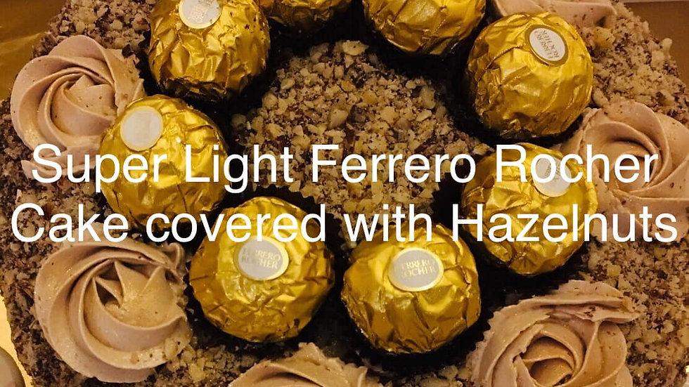A Hazelnut Cake with Ferrero Rocher chocolates