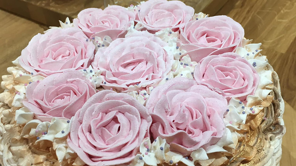Light Pink Rose Basket Cake