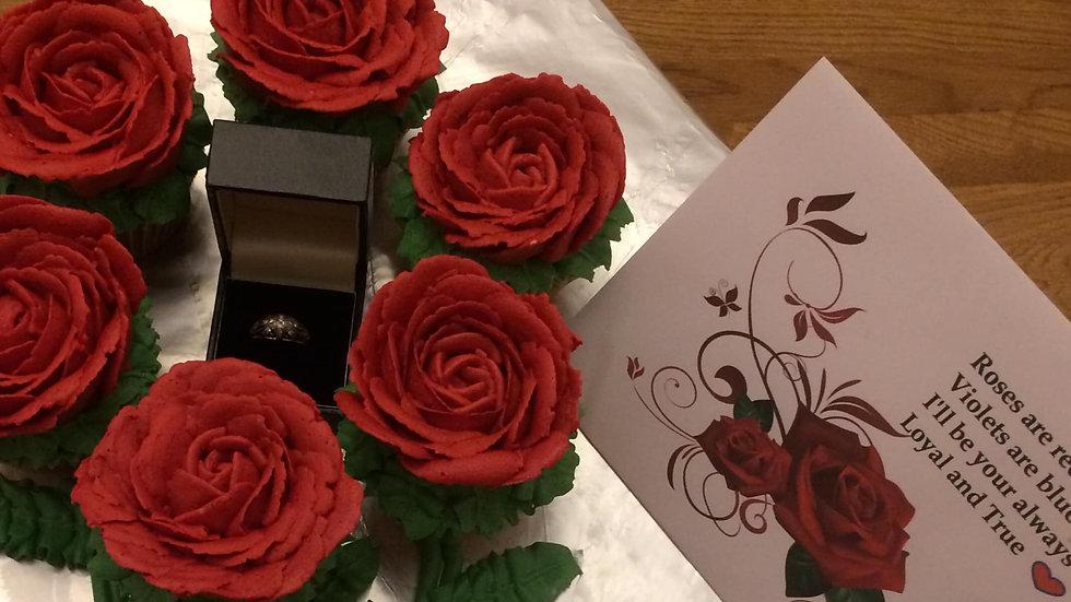 Valentine's Rose cupcakes x 7