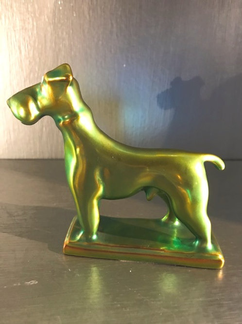 Zsolnay Eosin Iridescent Hand Painted Fox Terrier Figurine 4.5""