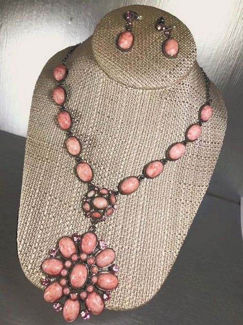 Vintage PInk Cabachon Pendant Necklace with Pierced Earrings
