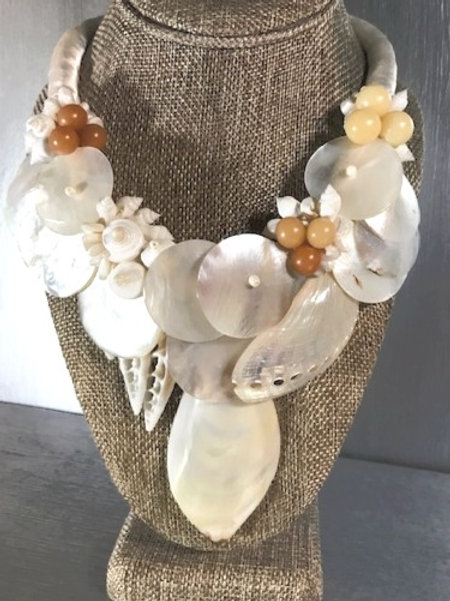 Mother of Pearl, Bead, Satin and Seashell Necklace