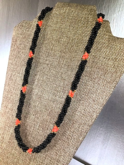 Elegantly Wrapped, 3 Stranded Faux Onyx, Coral and Gold Beaded Necklace