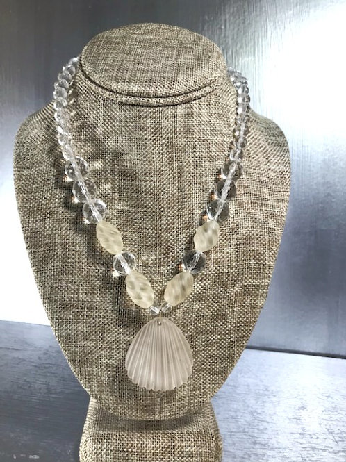 Clear and Smokey, Faceted Crystal Beading with Carved Shell Pendant
