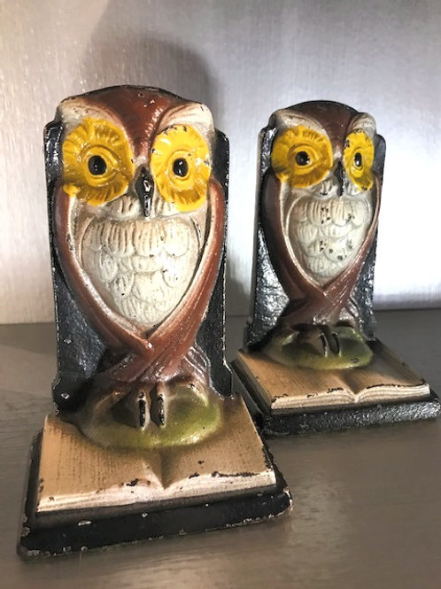 "Vintage Hand Painted  Bronze Owl Bookends 5""Tall."