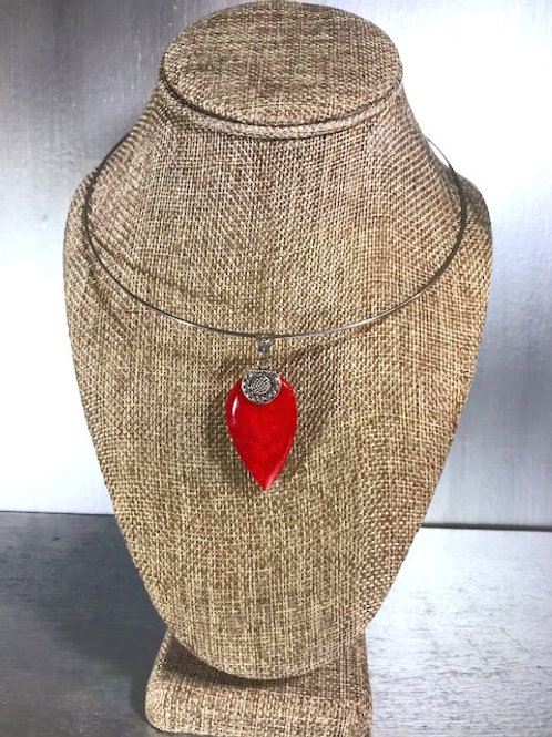Khalaf Coral and Silver Pendant Adjustable Necklace