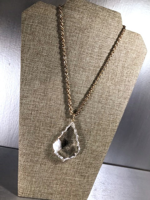 Faceted Clear Tear Drop Cut Glass Pendant w/ Goldtone, Cord Stylized Chain