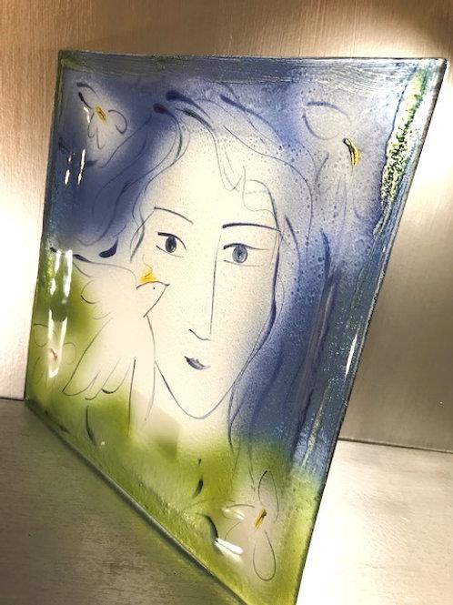 Translucent Picasso Inspired Art Glass Platter