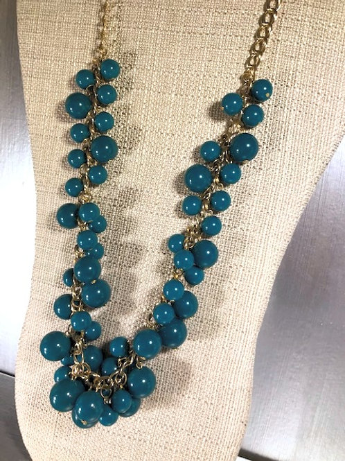 Vintage Graduated Azurean-Colored Beading with Adjustable Chain