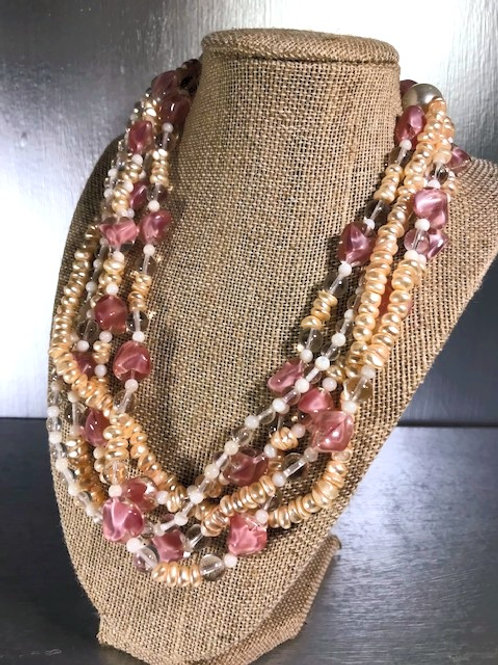 Khalaf  Twisted Five Strand, Mother o Pearl Necklace with Pink Art Glass Beads