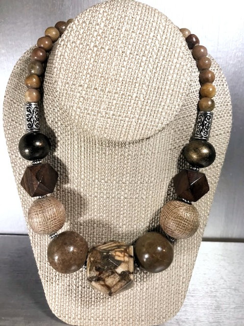 Chunky Urchin, Wood and Silver Beads Necklace