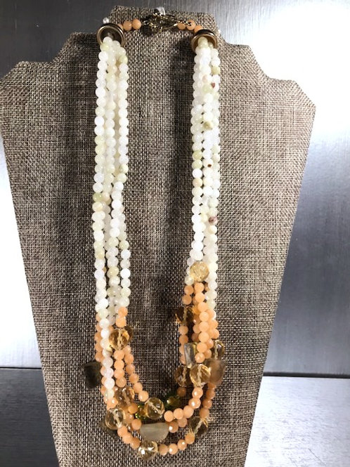 Khalaf Five-Strand Quartz and Crystal Bead Necklace