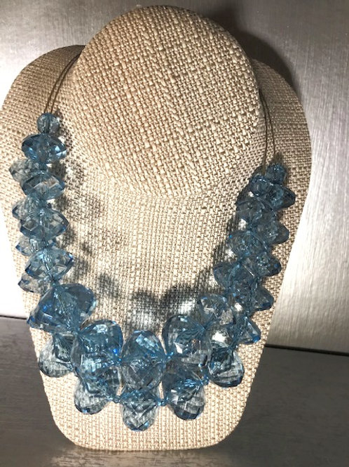 "Original ""Joan Rivers"" Necklace w/ Faceted Blue Crystal Bauble Beads"