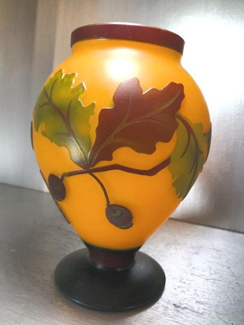 """Vintage Oak Leaf Cameo Carved Glass Translucent Vase 8"""""""
