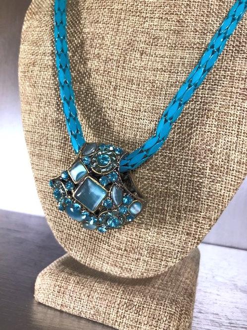 Vintage Basket Weave and Aqua Rhinestones Pendant Necklace