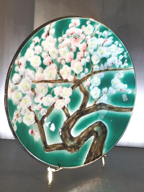 """Tutanka marked Japanese Cloisonne Enamel Cherry Blossom Platter 17.5"""""""