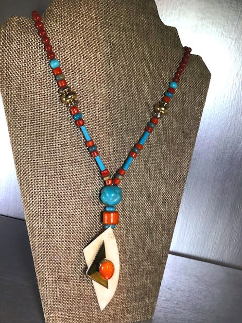 Modernist Horn, Bronze with Turquoise and Carnelian Beading