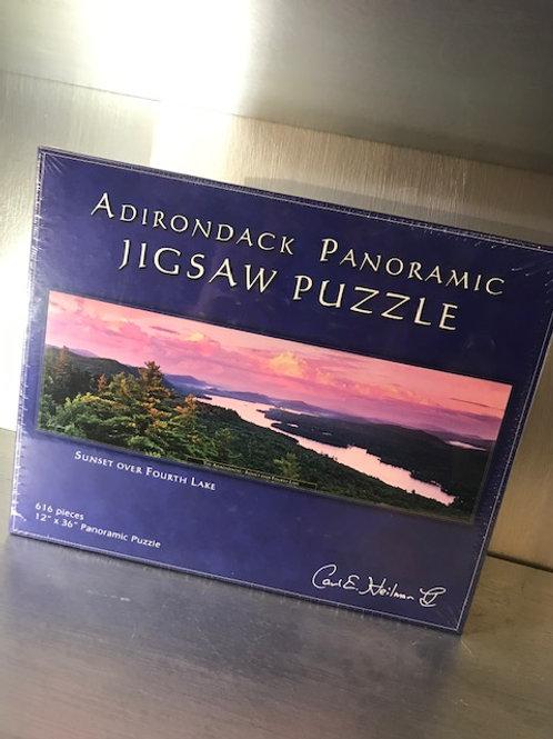 Adirondack Panoramic Jigsaw Puzzle Sunset Over Fourth Lake