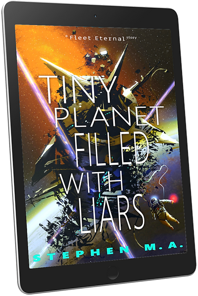 Tiny Planet Filled With Liars cover tablet mockup