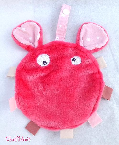 Doudou étiquette rose fushia  avec tissus rose bonbon imprimé étoilé