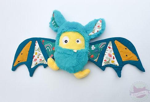 """Peluche chauve-souris """"Bat-monster """" bleu tropical"""