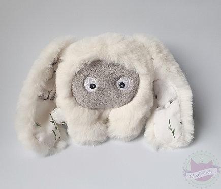 Peluche mini-bestiole blanche motif lapin