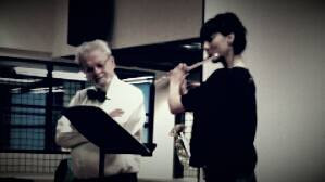 Playing for Sir James Galway at ADAMS International Flute Festival in Ittervoort, Netherlands