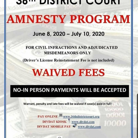 36th District Court Amnesty Jun 8th-Jul 10th