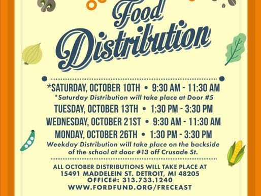 Food Distribution Schedule Oct.