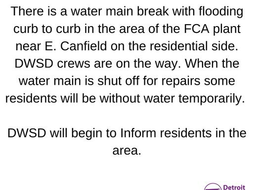 Water Main Breakage near FCA
