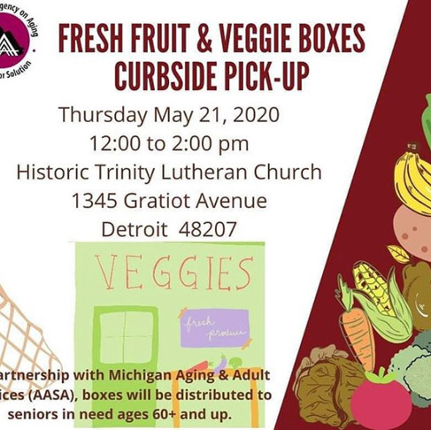 Attention Seniors, Curbside pick-up for Veggies and Fruit, Thur. May 21st