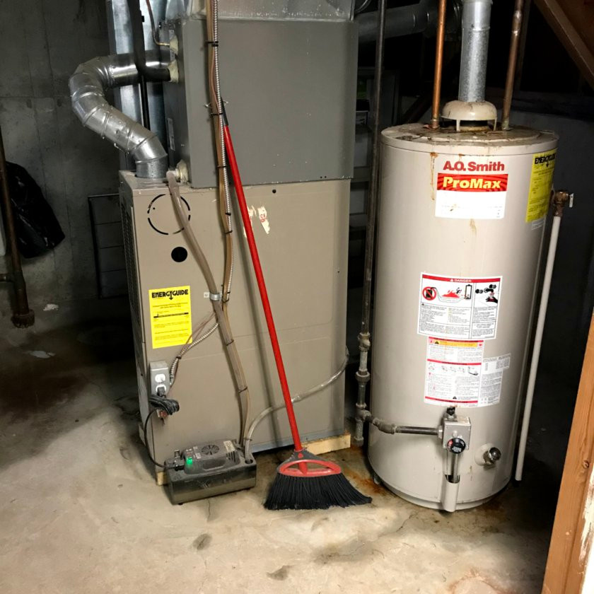 furnace and hot water tank