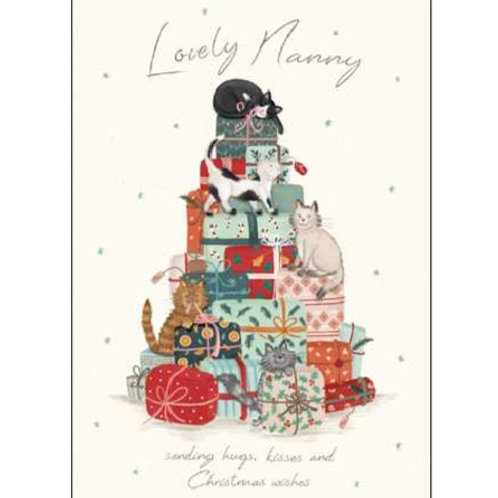Cats on presents Lovely Nanny Christmas Card